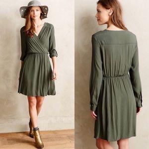 NWT Anthropologie Maeve Lene Green Faux Wrap Dress